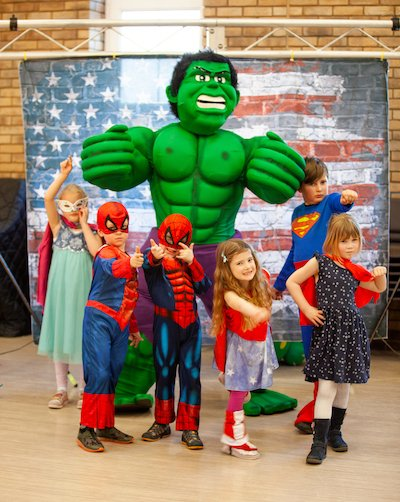 Funforce party Green Hulk costume character kids birthday festival Norfolk
