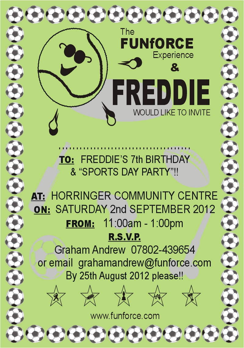 Sports day party invitation front funforce sports day party invitation front stopboris Images